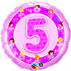 5th Birthday Ballerinas Pink Foil Balloon